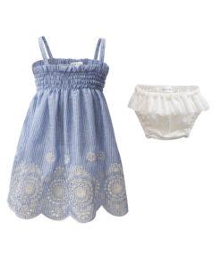 Φόρεμα αμάνικο γαλάζιο με βρακάκι λευκό με διάτρητες λεπτομέριες