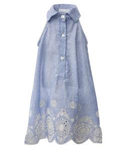 Φόρεμα αμάνικο γαλάζιο με κουμπιά και διάτρητες λεπτομέριες