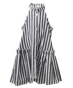Φόρεμα αμάνικο γκρι ριγέ με κουμπιά