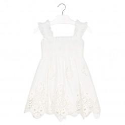 Φόρεμα αμάνικο διάτρητο λευκό