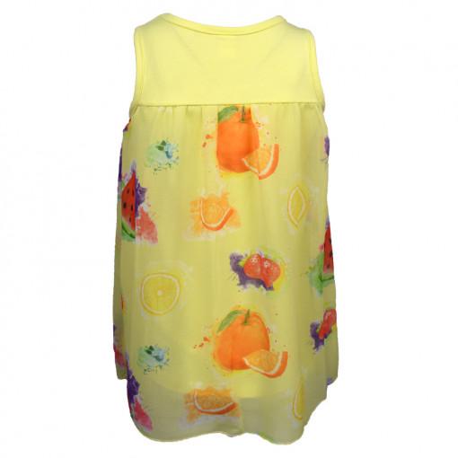 """Φόρεμα αμάνικο κίτρινο """"Φρούτα"""" πίσω μέρος"""