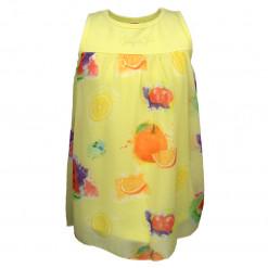 """Φόρεμα αμάνικο κίτρινο """"Φρούτα"""""""