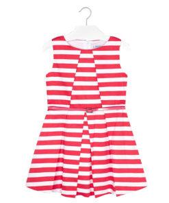 Φόρεμα αμάνικο κόκκινο ριγέ με ζώνη στην μέση