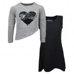 """Φόρεμα αμάνικο με κοντή μπλούζα μακρυμάνικη """"Καρδιά με Παγιέτες"""""""