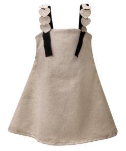 """Φόρεμα αμάνικο μπεζ """"Καρδιές"""""""