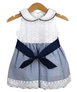 Φόρεμα αμάνικο ριγέ λευκό με κορδέλα στην μέση