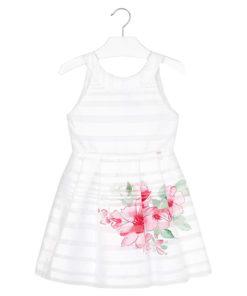 """Φόρεμα αμάνικο ριγέ λευκό """"Λουλούδια"""""""