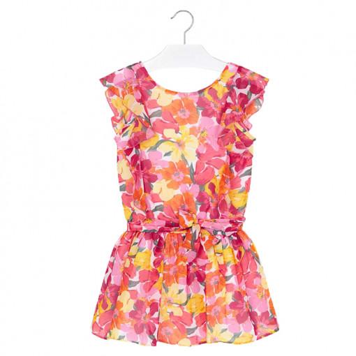 """Φόρεμα αμάνικο ροζ με ζώνη """"Λουλούδια"""""""