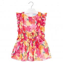 """Φόρεμα αμάνικο ροζ με φιόγκο στην μέση """"Floral"""""""