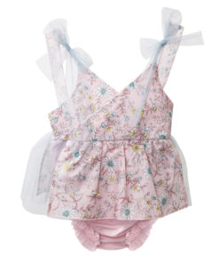 """Φόρεμα - βρακάκι αμάνικο ροζ """"Λουλούδια"""""""