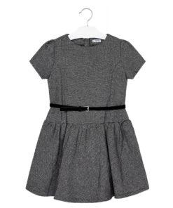 Φόρεμα γκρι με κορδόνι στη μέση