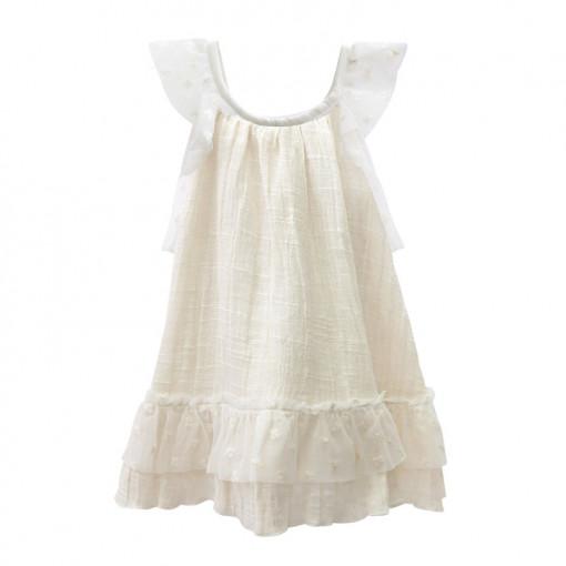 Φόρεμα εκρού αμάνικο με τούλι στο τελείωμα πίσω μέρος
