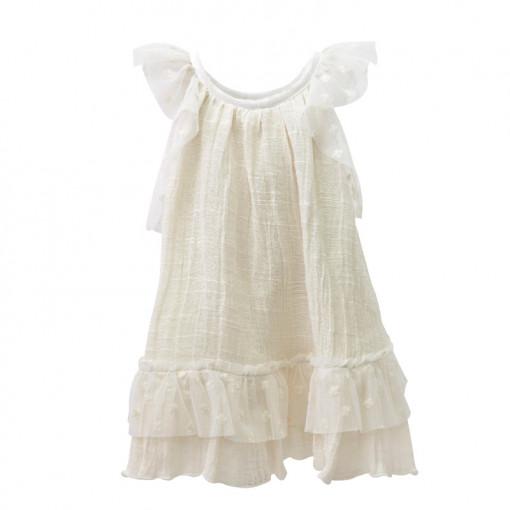 Φόρεμα εκρού αμάνικο με τούλι στο τελείωμα