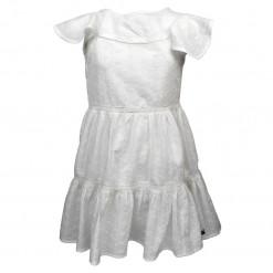 """Φόρεμα κοντομάνικο διάτρητο λευκό """"Λουλουδάκια"""""""