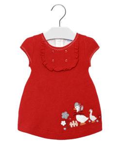 """Φόρεμα κοντομάνικο κόκκινο """"Παπάκια"""""""