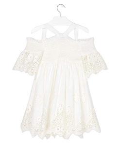 Φόρεμα κοντομάνικο λευκό με τιράντες και κέντημα στο μανίκι πίσω μέρος