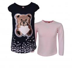 """Φόρεμα κοντομάνικο με ροζ μπλούζα μακρυμάνικη καφέ """"Αρκουδάκι"""""""