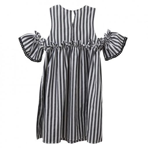 Φόρεμα κοντομάνικο ριγέ γκρι με εκτεθειμένους ώμους πίσω μέρος