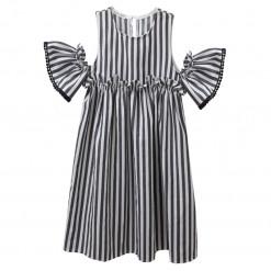 Φόρεμα κοντομάνικο ριγέ γκρι με εκτεθειμένους ώμους