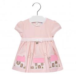 """Φόρεμα κοντομάνικο ροζ """"Σπιτάκια"""""""