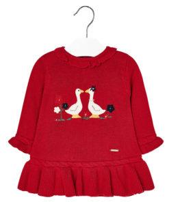 """Φόρεμα κόκκινο μακρυμάνικο """"Παπάκια"""""""