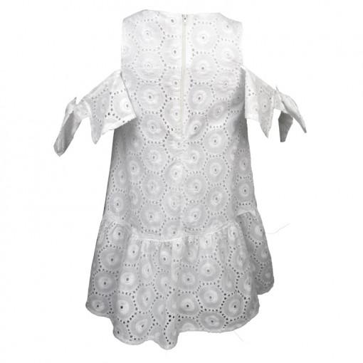 Φόρεμα λευκό με μακρυμάνικα μανίκια με κεντητές λεπτομέρειες πίσω μέρος