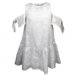 Φόρεμα λευκό με μακρυμάνικα μανίκια με κεντητές λεπτομέρειες