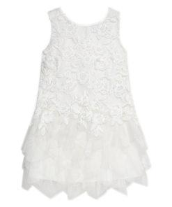 Φόρεμα λευκό με τούλι κεντητό