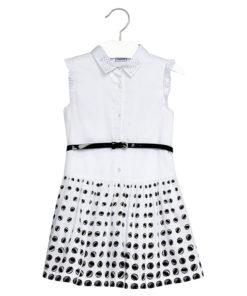 Φόρεμα λευκό στυλ πουκάμισο πουά