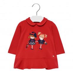 """Φόρεμα μακρυμάνικο κόκκινο """"Κοριτσάκια"""""""