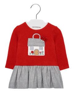 """Φόρεμα μακρυμάνικο κόκκινο """"Σπιτάκι"""""""