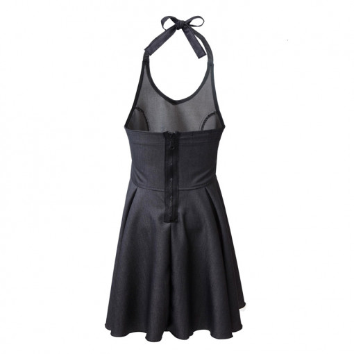 Φόρεμα μαύρο με τιραντάκι και μπαντάνα πίσω μέρος