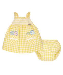 Φόρεμα με τσέπες και βρακάκι κίτρινο