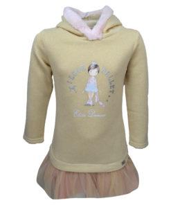 """Φόρεμα μπεζ μακρυμάνικο με τούλι στο τελείωμα """"I Love Ballet"""""""