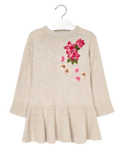"""Φόρεμα πλεκτό εκρού """"Λουλούδια"""""""
