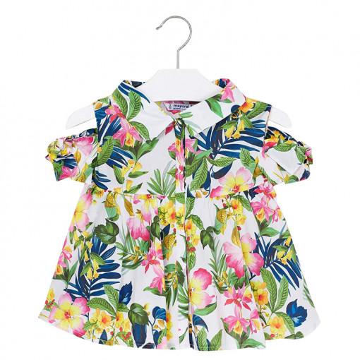 """Φόρεμα πουκαμίσα πράσινο """"Floral"""""""
