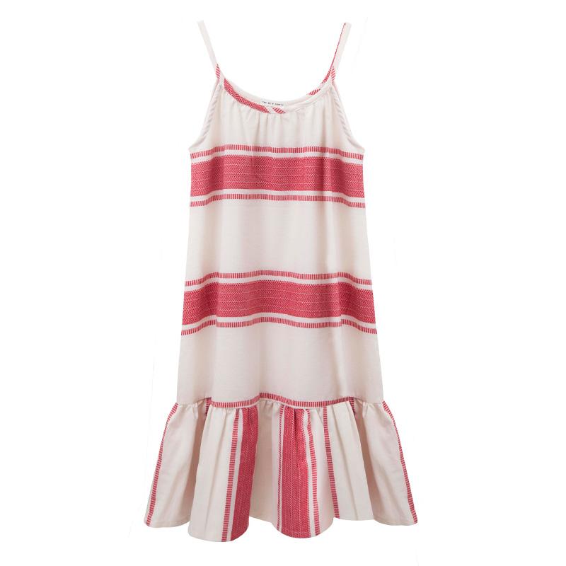 11e4a0c77ae Φόρεμα ριγέ με τιραντάκι με κορδέλα για τα μαλλιά - Φορέματα