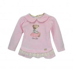 """Φόρεμα ροζ μακρυμάνικο βελουτέ με τούλι """"Αρκουδάκι"""""""