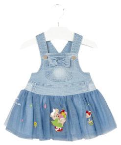 """Φόρεμα τζιν με τούλινη φούστα """"Αρκουδάκι με Παγωτό"""""""