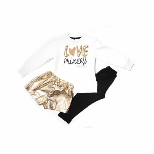 """Σετ μακρυμάνικη μπλούζα με κολάν χοντρό και σορτς μεταλλιζέ """"Love Princess"""""""