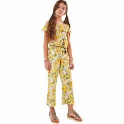 """Ολόσωμη παντελόνα εμπριμέ με ζώνη """"Tropical"""""""
