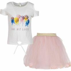 """Σετ αμάνικη μπλούζα με φούστα τούλινη με λουλούδια """"Oh my love"""""""