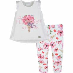 """Σετ κοντομάνικη μπλούζα με κολάν εμπριμέ """"Flower ice cream"""""""