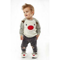 """Σετ βελουτέ με μπλούζα, παντελόνι και παπουτσάκια """"Baby Reindeer"""""""