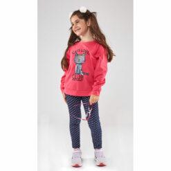 """Σετ μακρυμάνικη μπλούζα με κολάν πουά """"Cats Lover Club"""""""
