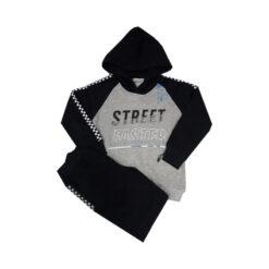 """Σετ μπλούζα φούτερ με κουκούλα και παντελόνι φόρμας """"Street Faster"""""""