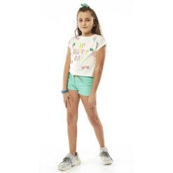 "Kοντομάνικη μπλούζα με σχέδια παγέτες ""My Happy Day"""