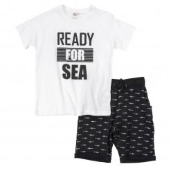 """Σετ κοντομάνικη μπλούζα με βερμούδα """"Ready to sea"""""""