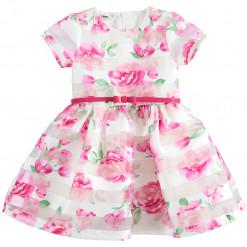 """Φόρεμα οργάτζα με ζωνάκι """"Pink roses"""""""