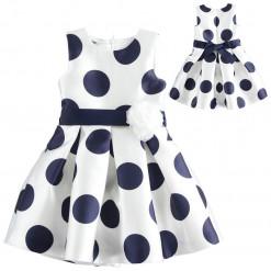 """Φόρεμα με μπλε πουά και ζώνη με λουλούδι στη μέση """"Blue dots"""""""